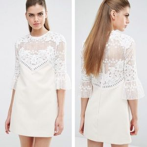 Self-Portrait Trumpet Sleeve Lace Shift Dress